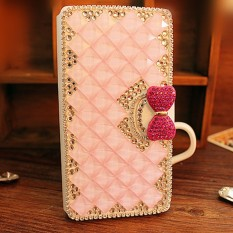 Mewah Handmade Rhinestone Diamond Leather Wallet Cover Case untuk Samsung Galaxy J1 Mini J1 NXT J105-Intl