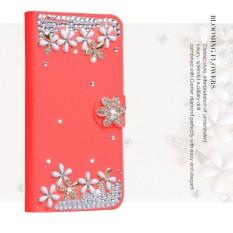 Mewah Women Handmade Rhinestone Diamond Leather Wallet Cover Case untuk Acer Liquid Jade Primo-Intl