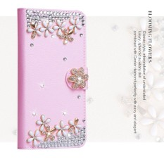 Mewah Women Handmade Rhinestone Diamond Leather Wallet Cover Case untuk Acer Liquid M330-Intl
