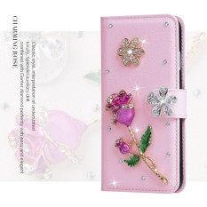 Mewah Women Handmade Rhinestone Diamond Leather Wallet Cover Case untuk Acer Liquid Z520-Intl