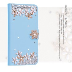 Mewah Women Handmade Rhinestone Diamond Leather Wallet Cover Case untuk Acer Liquid Zest Plus Z628-Intl