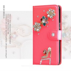 luxurious Women Handmade Rhinestone Diamond Leather Wallet Cover Case For Alcatel Evolve 2/OT4037 - intl
