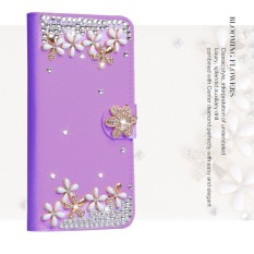 Mewah Women Handmade Rhinestone Diamond Leather Wallet Cover Case untuk Alcatel Fierce 4 (5.5)-Intl