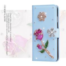 Mewah Women Handmade Rhinestone Diamond Leather Wallet Cover Case untuk Alcatel Fire C/OT4019-Intl
