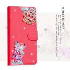 luxurious Women Handmade Rhinestone Diamond Leather Wallet Cover Case For Alcatel Idol 2 Mini S/6036Y - intl