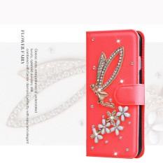 Mewah Women Handmade Rhinestone Diamond Leather Wallet Cover Case untuk Alcatel Idol 2 MINI S/6036Y-Intl