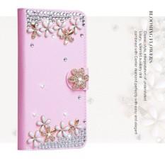 Mewah Women Handmade Rhinestone Diamond Leather Wallet Cover Case untuk Alcatel Idol Alpha/OT6032-Intl
