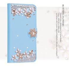 Mewah Women Handmade Rhinestone Diamond Leather Wallet Cover Case untuk Alcatel Idol/OT6030-Intl