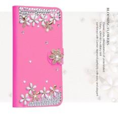 Mewah Women Handmade Rhinestone Diamond Leather Wallet Cover Case untuk Alcatel POP C1/OT4015-Intl