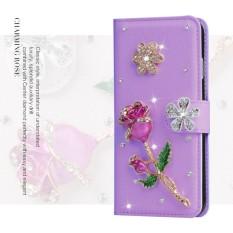 Mewah Women Handmade Rhinestone Diamond Leather Wallet Cover Case untuk Alcatel POP C3/OT4033-Intl