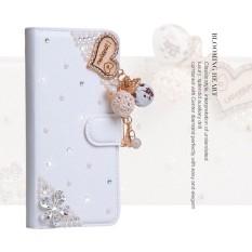 Wanita Mewah Buatan Tangan Berlian Imitasi Berlian Kulit Dompet Sarung Case untuk Alcatel Perhatian D1 4018D-Internasional
