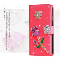 Mewah Women Handmade Rhinestone Diamond Leather Wallet Cover Case untuk Alcatel Pop D1 4018D-Intl
