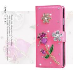 Mewah Women Handmade Rhinestone Diamond Leather Wallet Cover Case untuk Alcatel Pop S9/OT7050K-Intl
