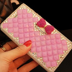 luxurious Women Handmade Rhinestone Diamond Leather Wallet Cover Case For Alcatel POP2(4.5)/OT5042X - intl