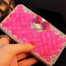 Wanita Mewah Buatan Tangan Berlian Imitasi Berlian Kulit Dompet Sarung Case untuk Huawei Ascend G526-Internasional