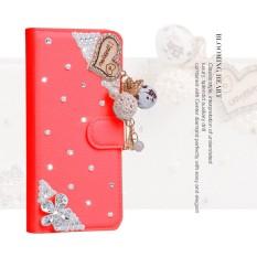 Wanita Mewah Buatan Tangan Berlian Imitasi Berlian Kulit Dompet Sarung Case untuk Huawei Honor 5A-Internasional