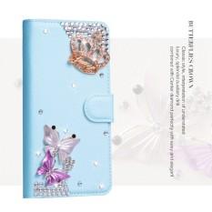 Wanita Mewah Buatan Tangan Berlian Imitasi Berlian Kulit Dompet Sarung Case untuk Huawei Honor 6A-Internasional