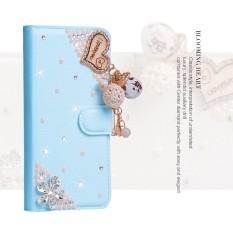 Wanita Mewah Buatan Tangan Berlian Imitasi Berlian Kulit Dompet Sarung Case untuk Samsung Galaksi S4 Aktif I9295-Internasional