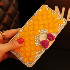 luxurious Women Handmade Rhinestone Diamond Leather Wallet Cover Case For Samsung Galaxy S8 Active - intl