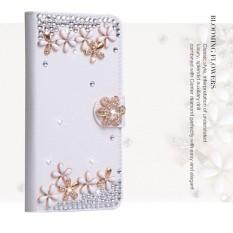 Mewah Women Handmade Rhinestone Diamond Leather Wallet Cover Case untuk Samsung Galaxy Xcover 4-Intl