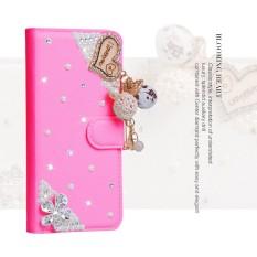 Wanita Mewah Buatan Tangan Berlian Imitasi Berlian Kulit Dompet Sarung Case Anda Vodafone Pintar 4 Daya/LTE 4G-Internasional