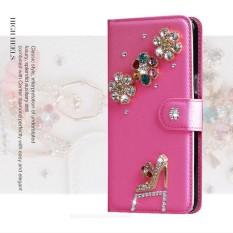 Wanita Mewah Buatan Tangan Berlian Imitasi Berlian Kulit Dompet Sarung Case untuk Vodafone Pintar 4 Daya/LTE 4G-Internasional