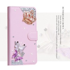 Mewah Women Handmade Rhinestone Diamond Leather Wallet Cover Case untuk Wiko Pulp 4G-Intl