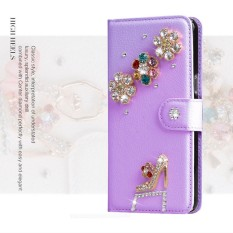 Wanita Mewah Buatan Tangan Berlian Imitasi Berlian Kulit Dompet Sarung Case Anda ZTE Grand S3-Internasional