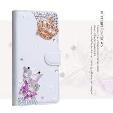 Mewah Women Handmade Rhinestone Diamond Leather Wallet Cover Case untuk ZTE Grand S3-Intl