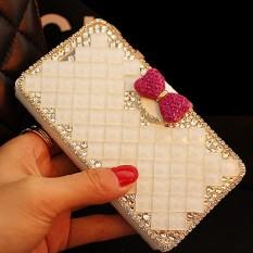 Wanita Mewah Buatan Tangan Berlian Imitasi Berlian Kulit Dompet Sarung Case untuk ZTE Grand S3-Internasional