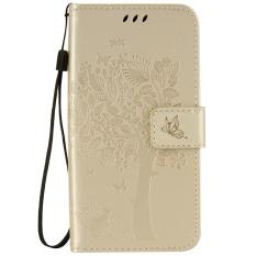Mewah 3D Cat Pola Pohon Stand PU Leather Case Case Cover dengan Slot Kartu untuk Samsung Galaxy J3 Pro (emas) (Intl)