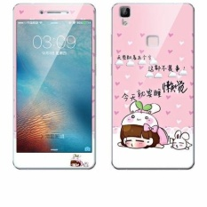 "Luxury 3D Painting Front+Back Full Case Cover Color Tempered Glass Case For Vivo V3Max 5.5"" Inch Screen Protector Film (Color:c15) - intl"