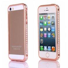 Mewah Crystal Rhinestone Faux Diamond Metal Bumper Case untuk IPhone 5/5 S (Rose Gold)