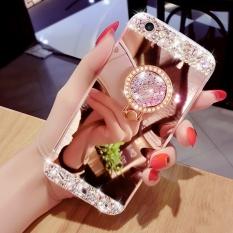 Mewah Berlian Cermin Telepon Case untuk iPhone 6 Plus/6 S Plus BlingBling Telepon Sarung dengan Cincin Braket Penahan 5.5 Inch-Internasional