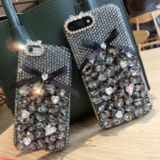 Luxury Fashion Handmade DIY Sweet Cute Bowknot Bling Crystal Diamond Case Cover For Huawei P smart