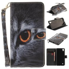 Luxury Fashion Leather Painted CatPattern Flip Stand PU Leather Case For LG Xpower - intl