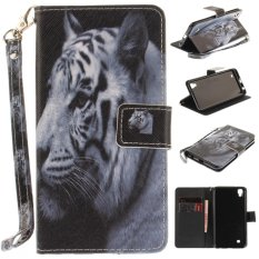 Luxury Fashion Leather Painted White TigerPattern Flip Stand PU Leather Case For LG Xpower - intl