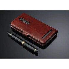 Jual Luxury Dompet Kulit Lipat Untuk Asus Zenfone 2 Ze551Ml Ze550Ml 5 5 Dengan Hd Screen Protector Brown Intl Oem Murah