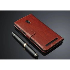 Luxury Flip leather Wallet Case For ASUS Zenfone 6 with HD Screen Protector -Brown - intl