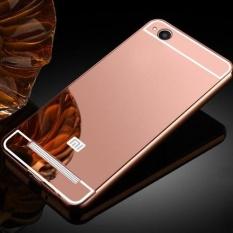 Mewah Plating Cermin Case Aluminium Metal Bumper + Acrylic Hard Back Cover untuk Xiaomi Redmi 4A