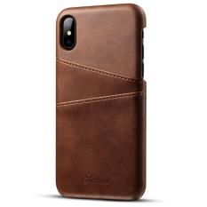 Mewah Retro Gaya Lite Leather Back Cover Case dengan Pemegang Kartu Kredit untuk Apple IPhone X Armor Kasus 5.8 Inch -Intl