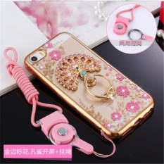 Luxury Rhinestone Phone Case Cover Finger Rotated Ring Holder Stand TPU For Apple iphone5 iphone5S iphone SE/ES 4.0