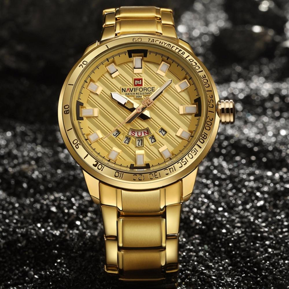 Promo Luxury Top Brand Naviforce Men S Wristwatch Quartz Gold Watch Steel Waterproof Fashion Casual Clock Man Sports Waterproof Wrist Watches Intl Murah