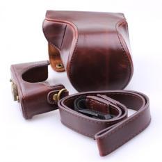 Luxury Vintage PU Leather Camera Bag Case untuk Canon EOS M3 M III 18-55mm Kamera DSLR Kasus dengan Tali Bahu (Kopi) -Intl