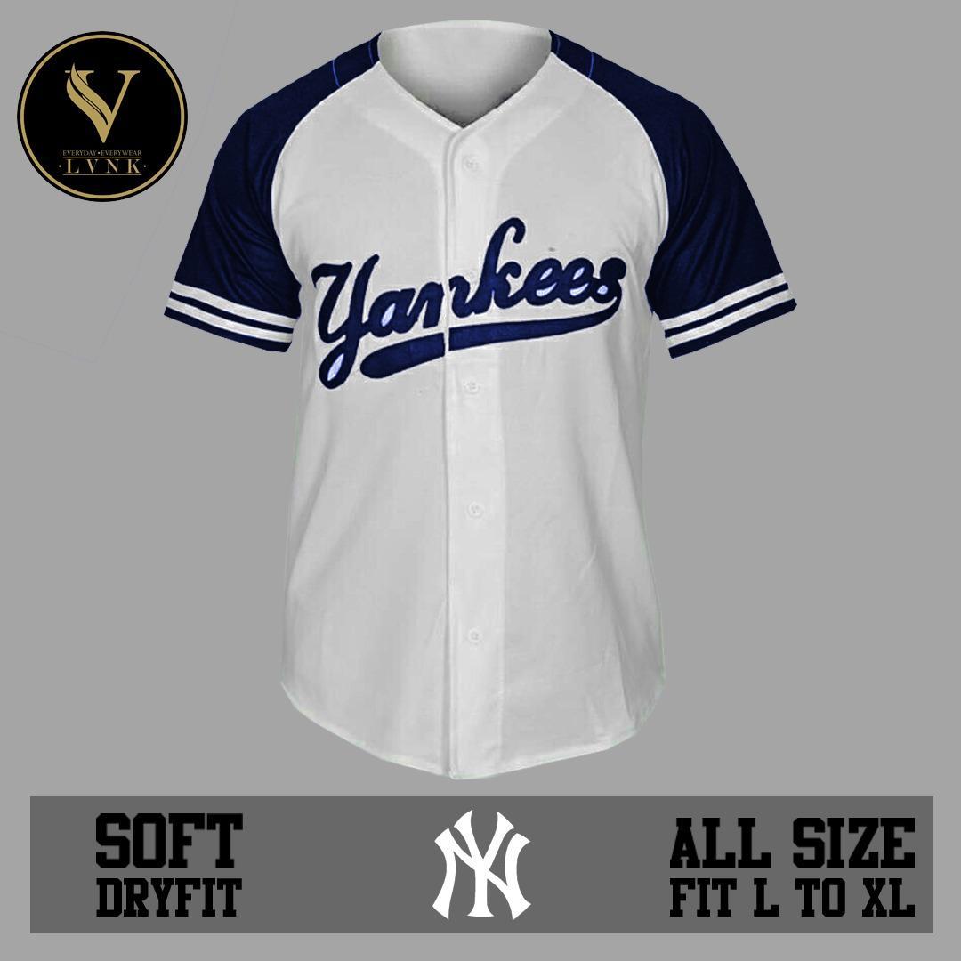 LVNK • Jersey Baseball / Baju Baseball / Baju Hiphop Yankees Putih Biru