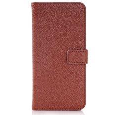 Lychee Stripes PU Leather Case Back Cover Tombol Kulit Shell dengan Slot Kartu untuk HTC One