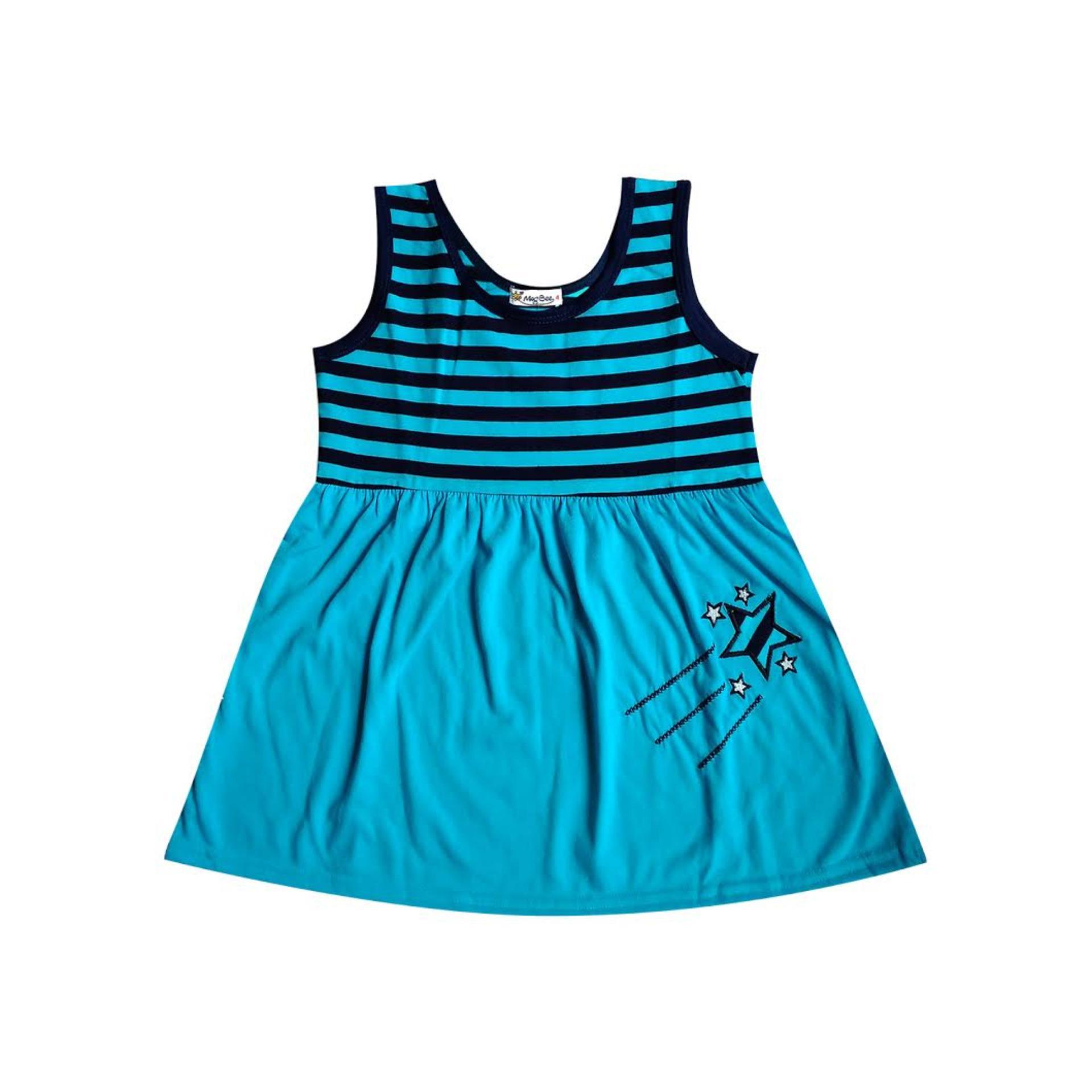 Macbee Kids Baju Anak Dress Stripy Beetle Size 6 Orange Sky Stars Blue