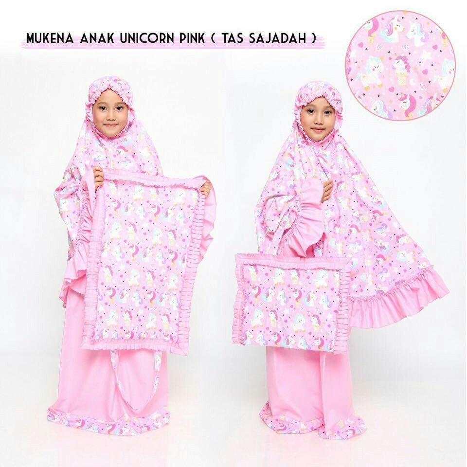 Madeena – Mukena Anak Karakter Unicron Pink - Tas Sajadah