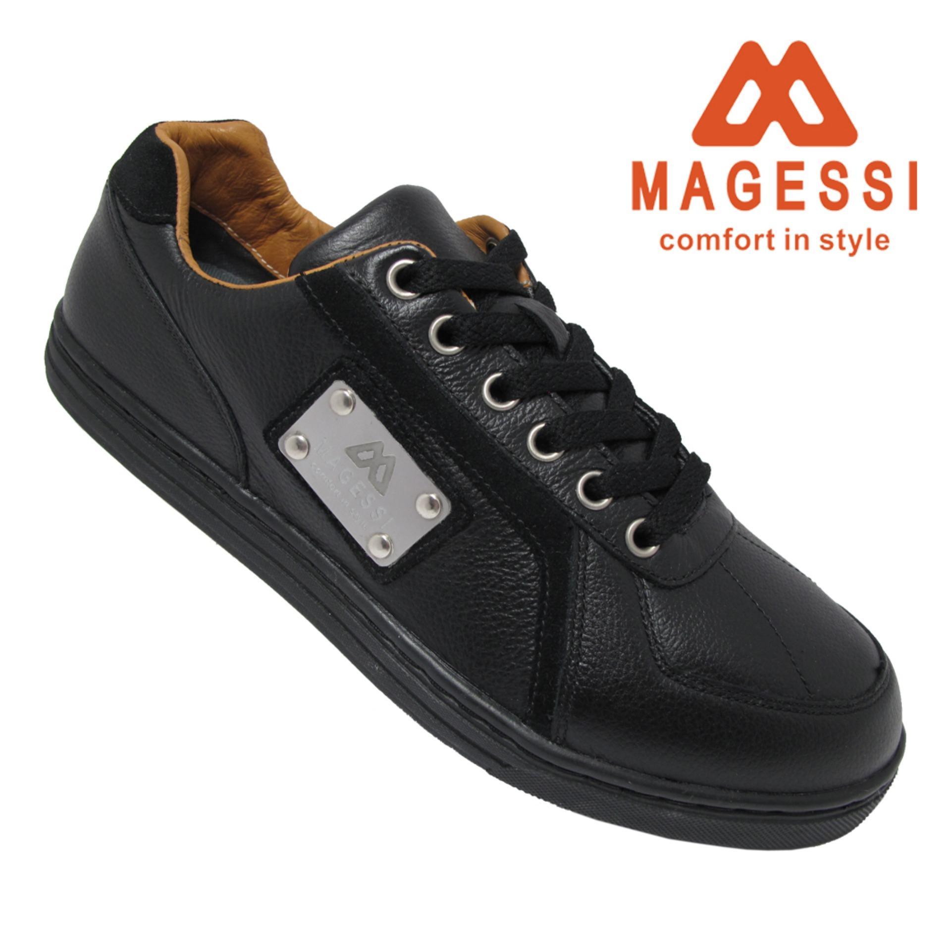Spesifikasi Magessi Elegance Sepatu Kasual Pria Kulit Black Lengkap Dengan Harga