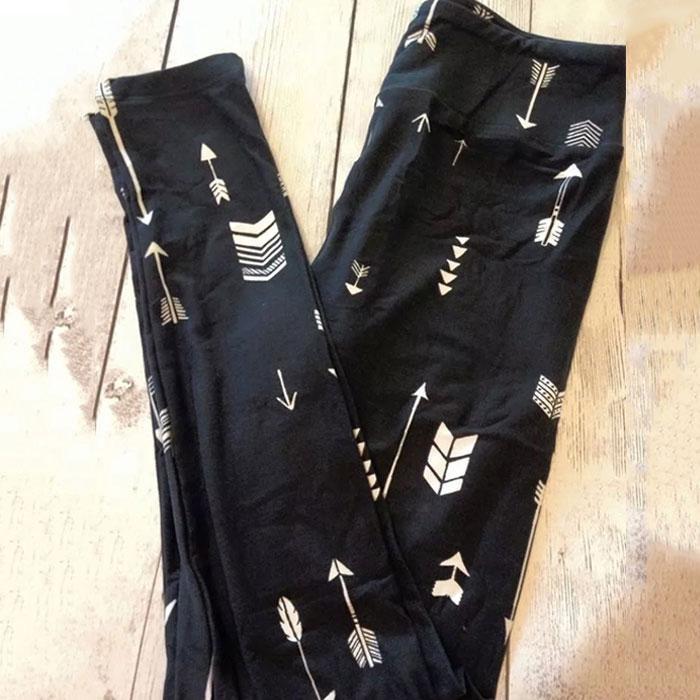 Magicworldmall Wanita Arrow Dicetak Legging Sempit Kaki Tinggi Pinggang Melar Celana Celana-Internasional